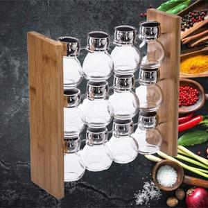 Decopatent Decopatent® Staand Kruidenrekje voor 12 kruidenpotjes - Specerijen rek - Bamboe hout - Potjes Glas - Keuken kruiden organizer