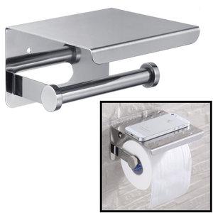 Decopatent Decopatent® Toiletrolhouder Rvs - Toiletrolhouder met telefoonhouder / plankje - Toilet / WC papier rolhouder - Wandmodel - Zilver