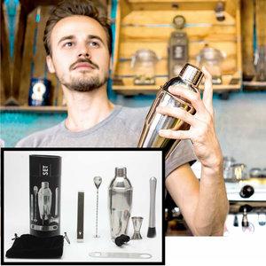 Decopatent Decopatent® PRO Cocktail Set 9-delig - Rvs Barset met Shaker - Maatbeker - Stamper - Recepten boek - Barmixer - Cocktailshaker