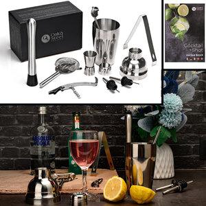 Decopatent Decopatent® PRO Cocktail Set 10-delig - Rvs Barset met Shaker - Maatbeker - Stamper Zeef - Recepten boek - Mixer - Cocktailshaker