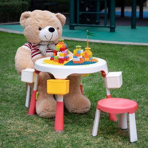 Decopatent Decopatent® - Speeltafel met bouwplaat (geschikt voor Duplo® blokken) en vlakke kant. Fijne kindertafel met 2 stoelen - Bouwtafel