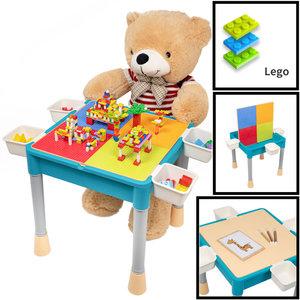 Decopatent Decopatent® - Kindertafel met 1 Stoeltje - Speeltafel met bouwplaat en vlakke kant - 4 Bakjes - Geschikt voor Lego® Bouwstenen