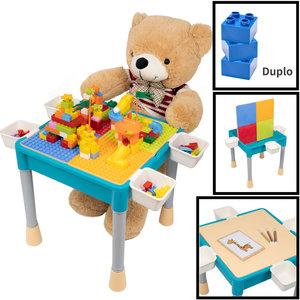 Decopatent Decopatent® - Kindertafel met 1 Stoeltje - Speeltafel met bouwplaat en vlakke kant - 4 Bakjes - Geschikt voor Duplo® Bouwstenen
