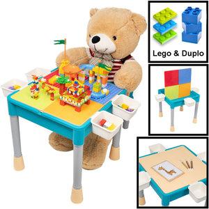 Decopatent Decopatent® - Kindertafel met 1 Stoeltje - Speeltafel met bouwplaat en vlakke kant - Geschikt voor Lego® & Duplo® Bouwstenen