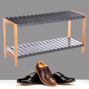 Decopatent Decopatent® - Schoenenrek 2 etages - Houten opbergrek voor 6 paar schoenen - Bamboe / Mdf - Ruimtebesparend 2 laags schoenenplank