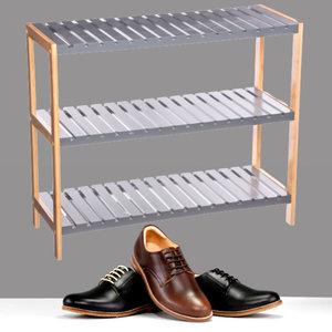 Decopatent Decopatent® - Schoenenrek 3 etages - Houten opbergrek voor 9 paar schoenen - Bamboe / Mdf - Ruimtebesparend 3 laags schoenenplank