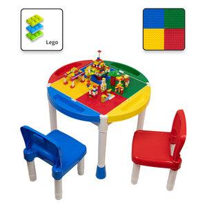 Decopatent Decopatent® - Kindertafel met 2 Stoeltjes - Speeltafel met bouwplaat en vlakke kant - 4 Bakjes - Geschikt voor Lego® Bouwstenen