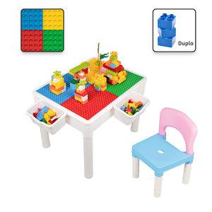 Decopatent Decopatent® - Kindertafel met 1 Stoeltje - Speeltafel met bouwplaat en vlakke kant - 2 Bakjes - Geschikt voor Duplo® Bouwstenen