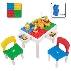 Decopatent Decopatent® - Kindertafel met 2 Stoeltjes - Speeltafel met bouwplaat en vlakke kant - 2 Bakjes - Geschikt voor Duplo® Bouwstenen