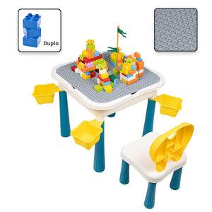 Decopatent Decopatent® - Kindertafel met  Stoeltje - Speeltafel met bouwplaat en vlakke kant - 4 Bakjes - Geschikt voor Duplo® Bouwstenen