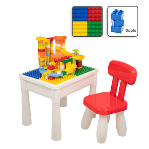 Decopatent Decopatent® - Kindertafel met 1 Stoeltje - Speeltafel met bouwplaat en vlakke kant - Tekentafel - Geschikt voor Duplo® Bouwstenen