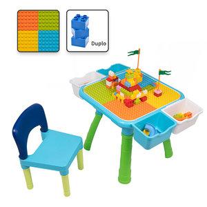 Decopatent Decopatent® - Kindertafel met 1 Stoeltje - Speeltafel met bouwplaat en Tafel kant - 4 Bakjes - Geschikt voor Duplo® Bouwstenen