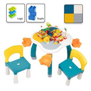 Decopatent Decopatent® - Kindertafel met 2 Stoeltjes - Speeltafel met bouwplaat en vlakke kant - Geschikt voor Lego® & Duplo® Bouwstenen