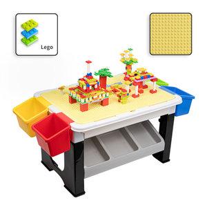 Decopatent Decopatent® - Speeltafel met bouwplaat (geschikt voor Lego® blokken) en vlakke kant. Kindertafel met 7 Opbergbakken - Bouwtafel