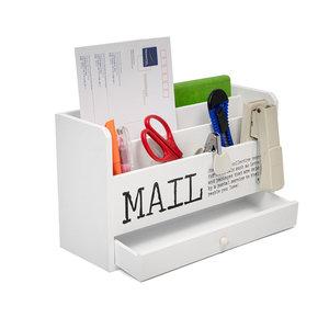 Decopatent Decopatent® Brievenbak Hout met 5 vakken & 1 Lade - Bureau organizer - Pennebak - Postbakje voor brieven telefoon etc - Wit