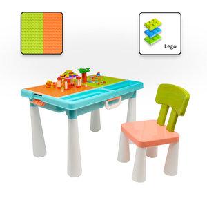 Decopatent Decopatent® - Kindertafel met 1 Stoel - Speeltafel met bouwplaat (Voor Lego® blokken) en vlakke kant - 2 Vakken - 515 Bouwstenen