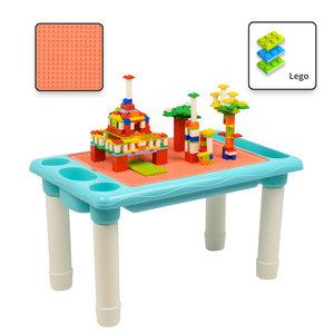 Decopatent Decopatent® - Kindertafel Bouwtafel - Speeltafel met bouwplaat (Voor Lego® blokken) en vlakke kant - 4 Vakken - Met 316 Bouwstenen