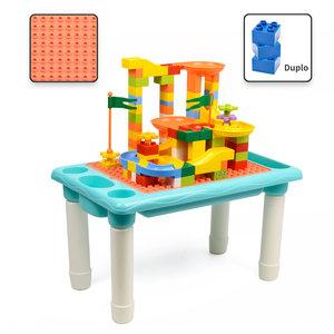 Decopatent Decopatent® - Kindertafel Bouwtafel - Speeltafel met bouwplaat (Voor Duplo® blokken) en vlakke kant - 4 Vakken - Met 78 Bouwstenen