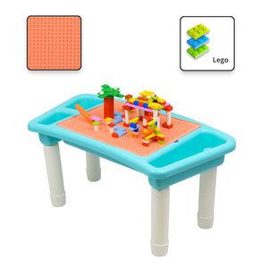Decopatent Decopatent® - Kindertafel Bouwtafel - Speeltafel met bouwplaat (Voor Lego® blokken) en vlakke kant - 3 Vakken - Met 303 Bouwstenen