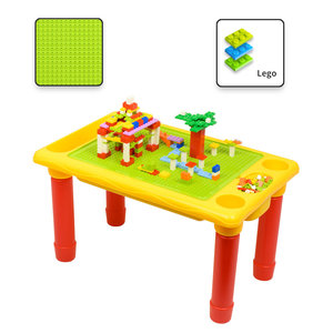 Decopatent Decopatent® - Kindertafel Bouwtafel - Speeltafel met bouwplaat (Voor Lego® blokken) en vlakke kant - 4 Vakken - Met 310 Bouwstenen
