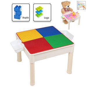 Decopatent Decopatent® - 4in1 Kindertafel met Lego® & Duplo® bouwplaat - Watertafel met Hengels en Vissen - Zandtafel met Zand - Bouwtafel