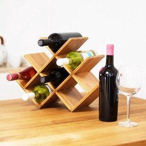 Decopatent Decopatent® Wijnrek voor 8 flessen wijn - Bamboe - Hout - Design wijnrek - Wijnflessenrek - Flessenrek voor 8 Wijnflessen
