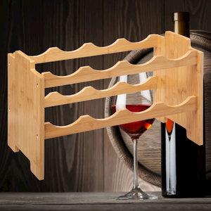 Decopatent Decopatent® Wijnrek van bamboe hout voor 8 flessen wijn - Staand en stapelbaar wijnrek - Mooi wijnflessenrek voor 8 wijnflessen
