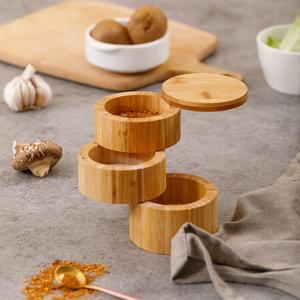 Decopatent Decopatent® Kruidenpot voor 3 soorten kruiden - Specerijen opbergen - Bamboe hout - Uitschuifbaar kruidenpotje - Kruiden organizer