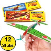Decopatent Decopatent® - 12 Stuks Foam Vliegtuigen - Uitdeelcadeautjes - Fighter Gliders Foam vliegtuig - Zweefvliegtuigen - Mix soorten