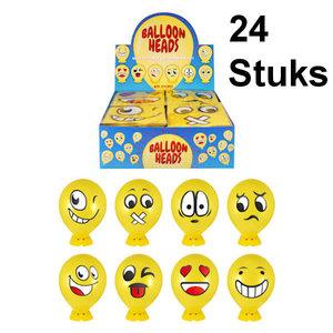 Decopatent 24 STUKS - MIX Smiley Ballon Hoofden - Maak je eigen Smiley Ballon Hoofd - Uitdeelcadeautjes - Traktatie voor Jongens en Meisjes