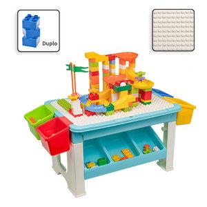 Decopatent Decopatent® - Speeltafel met bouwplaat (geschikt voor Duplo® blokken) en vlakke kant. Kindertafel met 7 Opbergbakken - Bouwtafel