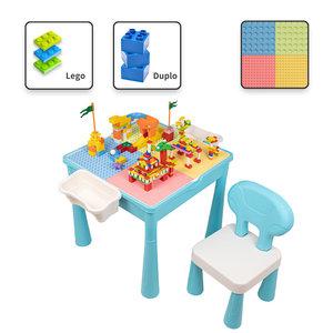 Decopatent Decopatent® - Kindertafel - Speeltafel met 1 Stoel & bouwplaat (Voor Lego® & Duplo® blokken) Bouwtafel - Watertafel - Boekenhouder