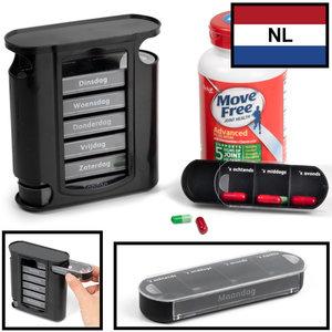 Decopatent Decopatent® Medicijndoos 7 dagen met 4 vakken per dag - Nederlands - Pillendoos voor een week - medicijnbox / pillen organizer