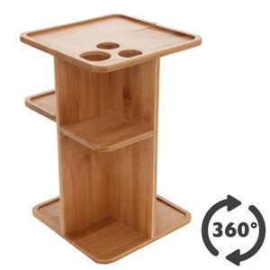 Decopatent Decopatent® Staande Make-up organizer 360° draaibaar - Bamboe houten make up organizer - Luxe Cosmetica organiser houder - Toren