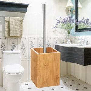 Decopatent Decopatent® Toiletborstel met houder - Bamboe Hout - WC borstel met houder - Staande Toiletborstelhouder - Vrijstaand