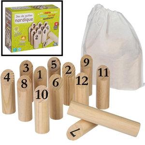 Decopatent Decopatent® Kubb werpspel - behendigheidsspel - Houten buitenspel - Scandinavisch werpspel van hout - 2 tot 4 Spelers