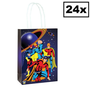 Decopatent Decopatent® 24 STUKS Superhelden Traktatie Uitdeel papieren zakjes met handvat - Super Hero Traktaitezakjes voor uitdeelcadeautjes
