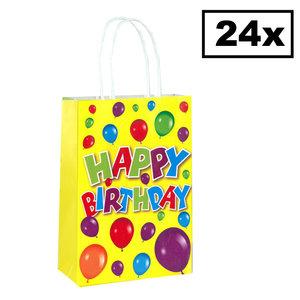Decopatent Decopatent® 24 STUKS Happy Birthday Traktatie Uitdeel papieren zakjes met handvat - Verjaardag Traktaitezakjes voor uitdeelcadeautjes