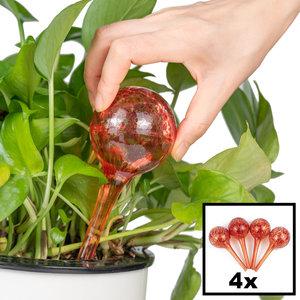 Decopatent Decopatent® 4 Stuks - Waterdruppelaar voor Planten - Watergever - Glas - Waterbollen - Watergeefsysteem - Plantenbollen - Rood