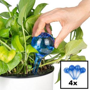 Decopatent Decopatent® 4 Stuks - Waterdruppelaar voor Planten - Watergever - Glas - Waterbollen - Watergeefsysteem - Plantenbollen - Blauw