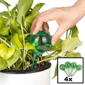 Decopatent Decopatent® 4 Stuks - Waterdruppelaar voor Planten - Watergever - Glas - Waterbollen - Watergeefsysteem - Plantenbollen - Groen