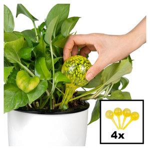 Decopatent Decopatent® 4 Stuks - Waterdruppelaar voor Planten - Watergever - Glas - Waterbollen - Watergeefsysteem - Plantenbollen - Geel