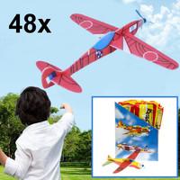 Decopatent Decopatent® Uitdeelcadeaus 48 STUKS Foam Vliegtuigen - Traktatie Uitdeelcadeautjes voor kinderen - Klein Speelgoed Traktaties