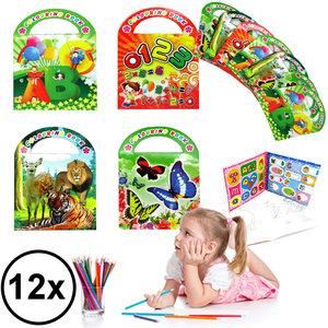 Decopatent Decopatent® Uitdeelcadeaus 12 STUKS MIX Kleurboekjes met Stickers - Traktatie Uitdeelcadeautjes voor kinderen - Klein Speelgoed