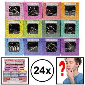 Decopatent Decopatent® Uitdeelcadeaus 24 STUKS Metalen IQ Puzzels - Geduldspel - Traktatie Uitdeelcadeautjes voor kinderen - Klein Speelgoed