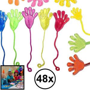 Decopatent Decopatent® Uitdeelcadeaus 48 STUKS Plakhandjes - Sticky Hands - Traktatie Uitdeelcadeautjes voor kinderen - Speelgoed Traktaties
