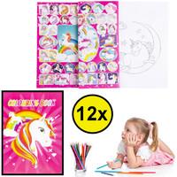 Decopatent Decopatent® Uitdeelcadeaus 12 STUKS Unicorn / Eenhoorn A4 Kleurboekjes met Stickers - Traktatie Uitdeelcadeautjes voor kinderen