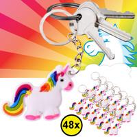 Decopatent Decopatent® Uitdeelcadeaus 48 STUKS Unicorn / Eenhoorn Sleutelhangers - Traktatie Uitdeelcadeautjes voor kinderen - Klein Speelgoed