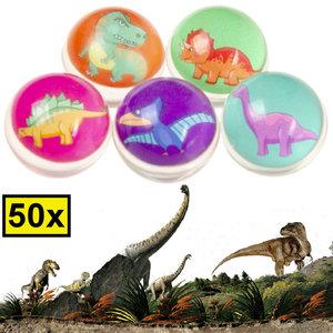 Decopatent Decopatent® Uitdeelcadeaus 50 STUKS Dino / Dinosaurus Stuiterballen Ø3.2 Cm - Traktatie Uitdeelcadeautjes voor kinderen - Speelgoed