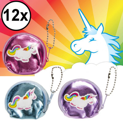 Decopatent Decopatent® Uitdeelcadeaus 12 STUKS Mini Unicorn / Eenhoorn Portemonee's - Traktatie Uitdeelcadeautjes voor kinderen - Speelgoed